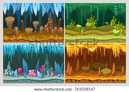 cartoon game cave landscapes