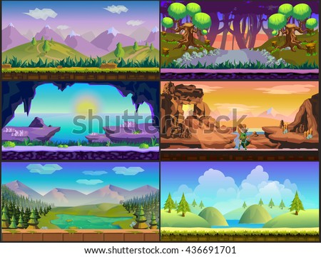 Cartoon game design nature landscape set