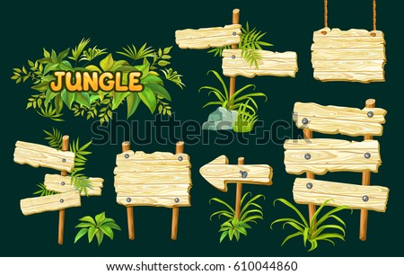 cartoon game panels in jungle