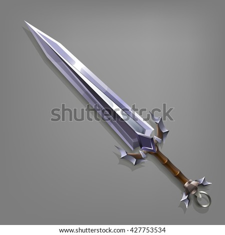 cartoon game sword vector