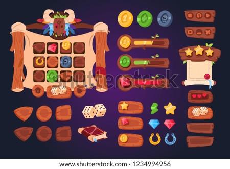 cartoon game ui wooden buttons