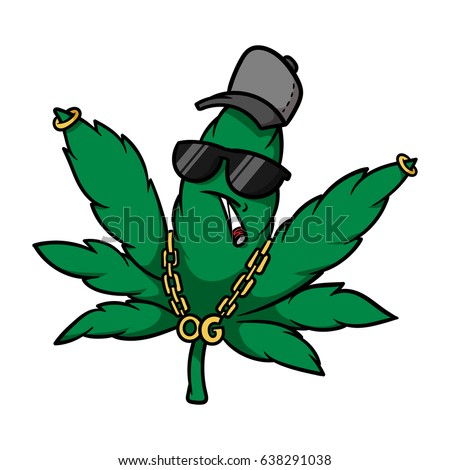 cartoon gangster cannabis leaf