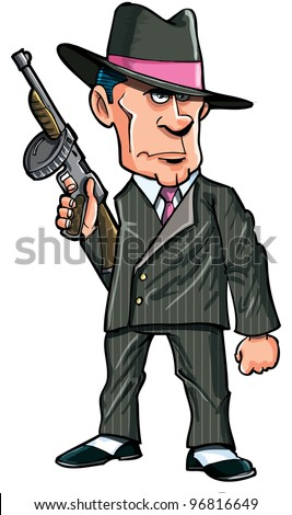 Stock Photo Cartoon 1920 gangster with a machine gun. Isolated