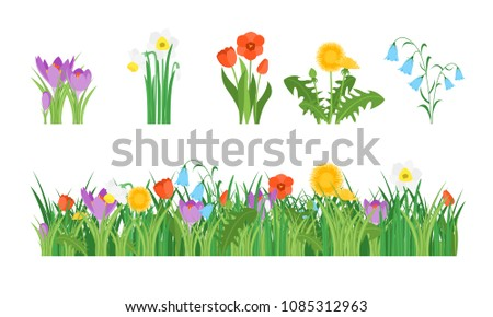 Cartoon Garden Flowers and Element Set Concept Flat Design Style Include of Grass, Plant and Leaf. Vector illustration #1085312963