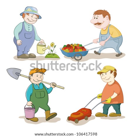 Cartoon: gardeners work: watering a flower, carries trolley with vegetables, with a bucket and spade, with a lawn mower. Vector illustration