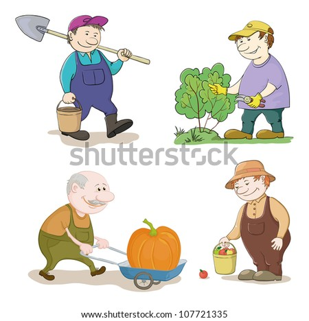 Cartoon gardeners work: with a bucket and spade, cuts a bush with secateurs, carries trolley with pumpkin, with the harvest of apples. Vector illustration
