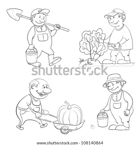 Cartoon gardeners work: with a bucket and spade, cuts a bush with secateurs, carries trolley with pumpkin, with the harvest of apples. Black contour on white background. Vector