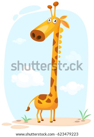 Cartoon giraffe character. Vector illustration isolated on nature background