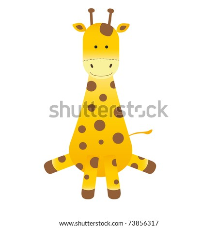 Cartoon giraffe on white background