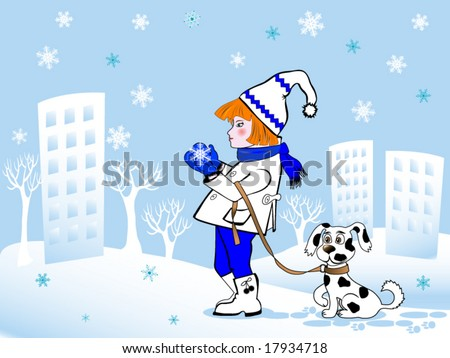 stock vector : Cartoon girl and dog on background of cityscape