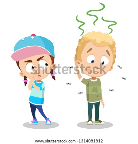 Cartoon girl annoyed with the smell of dirty wearing boy. Boy in dirty and unclean shirt vector illustration. Friendship and hygiene concept. Isolated on white background