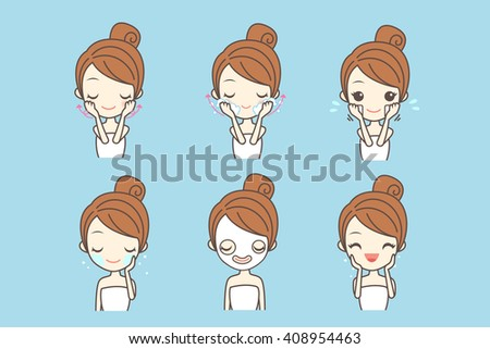 cartoon girl care her face with