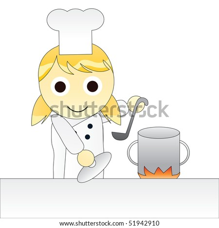 cartoon girl cooking