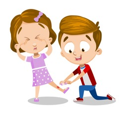 Cartoon girl crying because of the cut on leg. Little boy putting on bandage vector illustration. Friendship and childhood concept. Isolated on white background