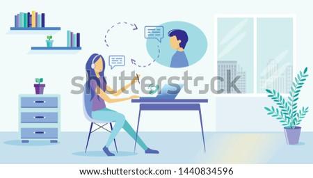 Cartoon Girl In Headset Microphone Help Man Customer Vector Illustration. Online Helpline Helpdesk Hotline. Client Assistance. Female Assistant Tech Support. Internet Chat Message. Call Center Work