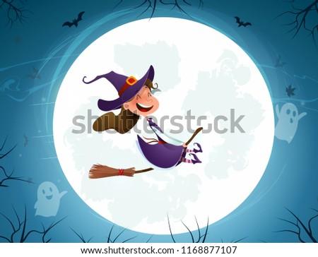 Cartoon girl kid in halloween costume flying over the moon. Retro vintage.