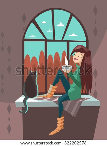 cartoon girl with a cat vector