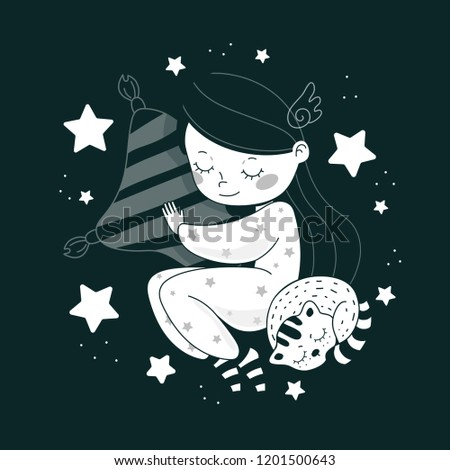 Cartoon girl with a sleeping cat on a dark background. Good night. Bed time. Sweet dreams. Sleeping girl. Vector illustration. Picture for postcard, t-shirt, poster.
