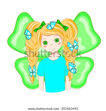 cartoon girl with butterflies