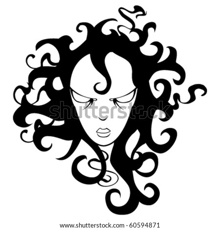 cartoon girl hair. stock vector : cartoon girl