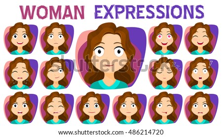 Cartoon girl with different facial expressions and emotions.
