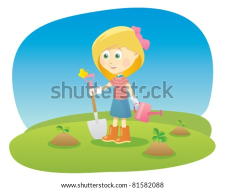 Cartoon girl with shovel and watering can