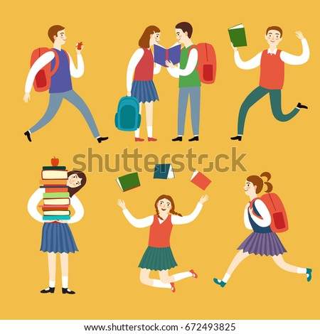 Cartoon girls and boys with books big set. Vector illustration about school and education