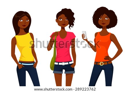 cartoon girls in colorful summer clothes