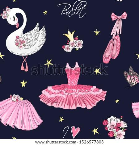 cartoon girls seamless pattern