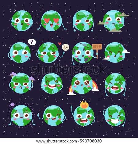 cartoon globe earth face with