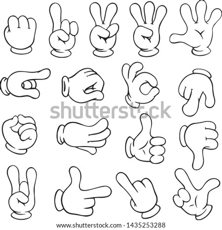 Cartoon gloved arms. Hand in glove character, motion hands. White gloves human arm characters, comic gesture hand palm and finger. Vector isolated icons illustration collection