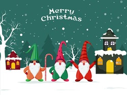 Cartoon Gnomes Character with Candy Cane and Snowy Houses on Winter Landscape Background for Merry Christmas Celebration.