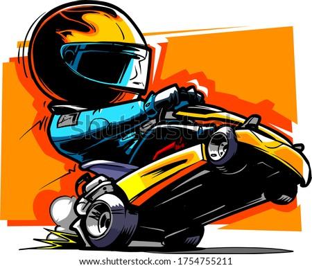 Cartoon Go Kart Racer. Vector Illustration Zdjęcia stock ©
