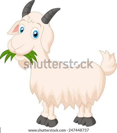 cartoon goat eating grass