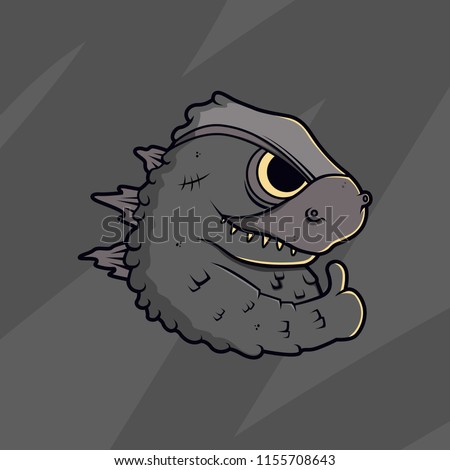 cartoon godzilla vector illustration.