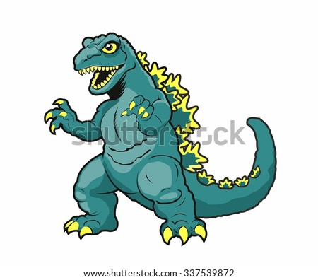 Cartoon Godzilla. Vector illustration.