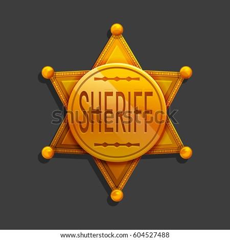 Cartoon golden hexagonal star icon. Vector illustration sheriff badge symbol. Stock fotó ©