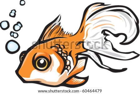 goldfish cartoon drawing. vector : Cartoon goldfish.