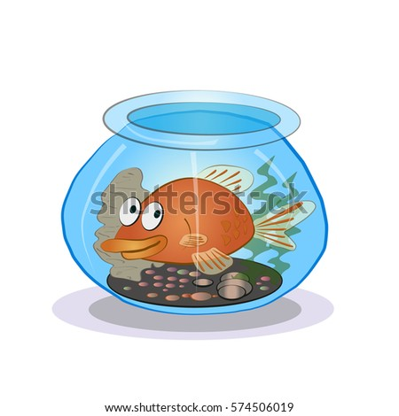 cartoon goldfish in an aquarium