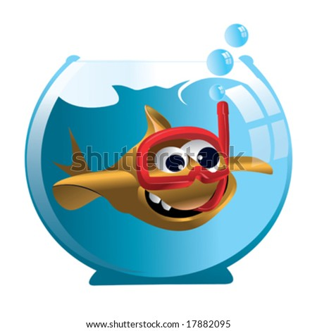 cartoon goldfish in aquarium
