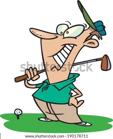 cartoon golfer about to hit the golf ball