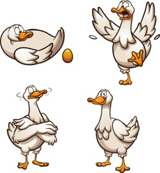 Cartoon goose with golden egg with different poses and emotions. Vector clip art illustration with simple gradients. Some elements on separate layers.