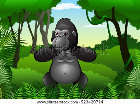 cartoon gorilla in the jungle