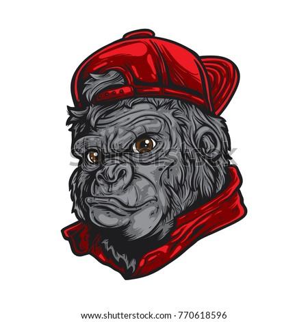 cartoon gorilla wearing red hat