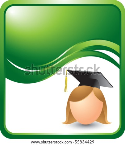 stock vector : cartoon graduate girl green wave
