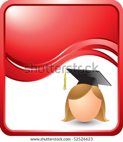 stock vector : cartoon graduate girl red wave background