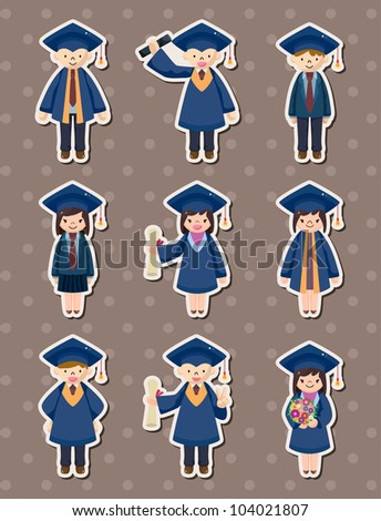 Cartoon Graduate students stickers