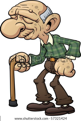 cartoon grandfather with cane