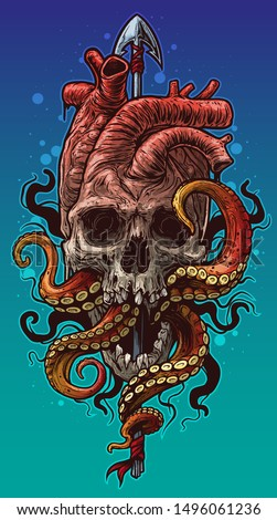 Cartoon graphic colorful detailed realistic human heart shaped skull with octopus tentacles on metal spear. Isolated on blue background. Tattoo outline. Vector icon.
