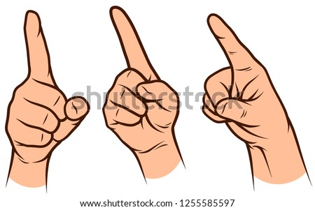 Cartoon graphic white human hands. Showing forefinger. Isolated on white background. Vector icons set. Vol. 2